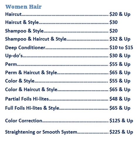 jcp hair salon price list hair salon price list images