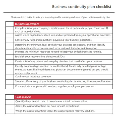 Exle Business Continuity Plan Template 7 free business continuity plan templates excel pdf formats