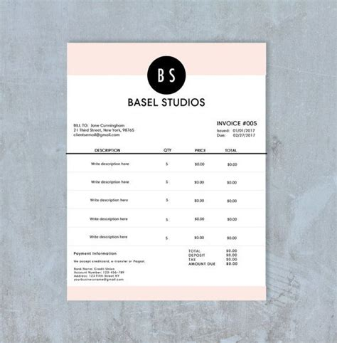 Receipt Template Psd by Invoice Template Billing Template Photography Invoice