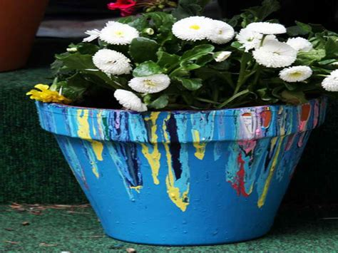 Painting Garden Pots Ideas Bloombety Painting Flower Pots Ideas With Pour Painting Flower Pots Ideas
