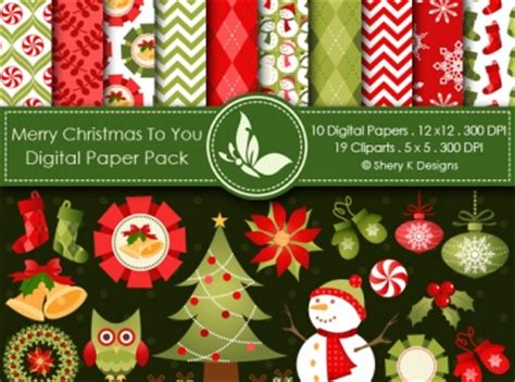 merry christmas   digital paper pack  cliparts meylah
