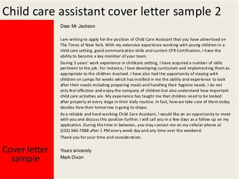 cover letter for child care child care assistant cover letter