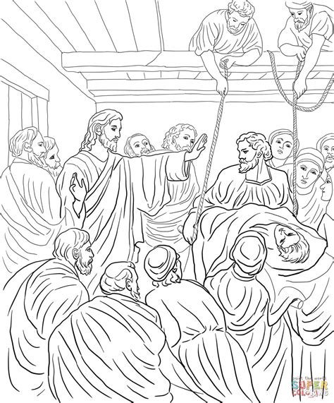 coloring pages jesus heals the paralyzed jesus heals paralyzed coloring page coloring pages
