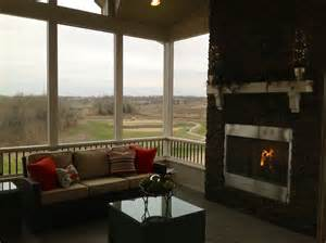 Screen Porch Fireplace by Lenexa Custom Designed Screened Porch