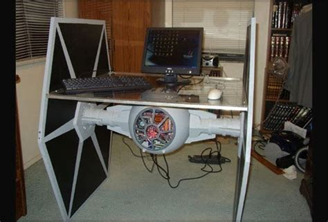 feel the force with this star wars tie fighter desk and pc