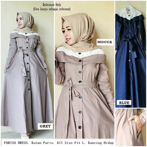 Gamis Dress Murah baju gamis dress lengan panjang murah desain modern terbaru