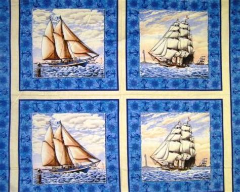 Sailboat Quilt Fabric by 1 2 Yard Quilt Fabric Nautical Ports Of Call Pillow Panels