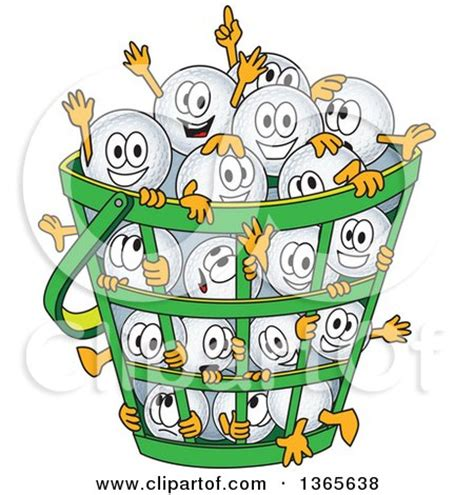 clipart of golf ball sports mascot characters in a basket