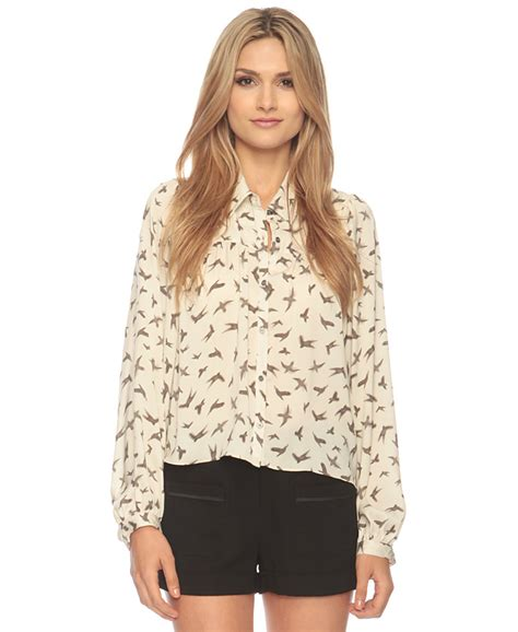 Forever21 River Coral Blouse blurred birds crop button up forever21 2086807717