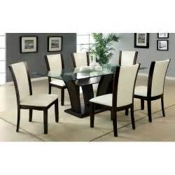 Glass Dining Table 6 Chairs 7pc Glass Dining Set Cherry Top Table 6 Leather Chairs Contemporary Furniture Ebay