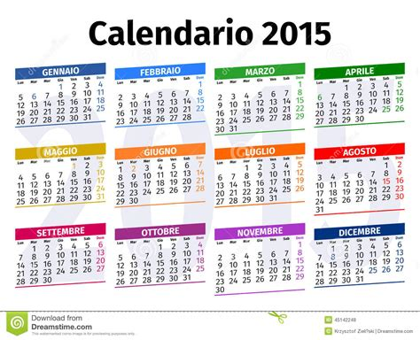 Calendario Italiano Calendario Italiano 2015 Illustrazione Di Stock Immagine
