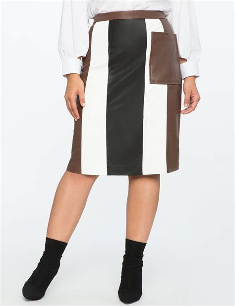 Faux Leather Panel Skirt studio faux leather panel column skirt eloquii