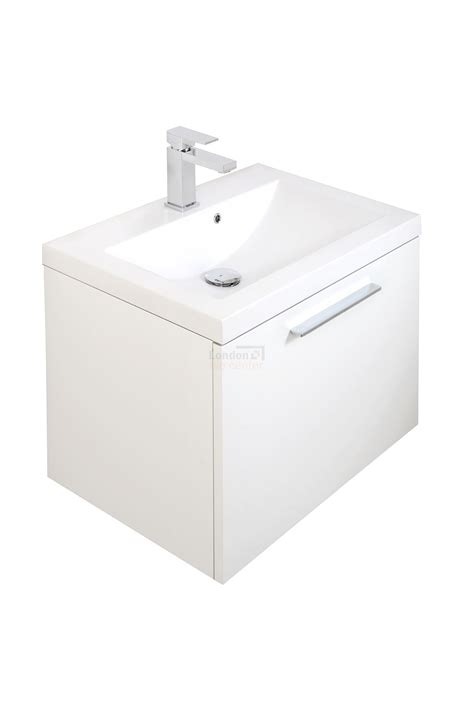 white wall hung 600mm vanity unit basin