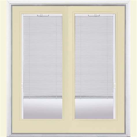 Mini Blinds For Patio Doors Masonite 72 In X 80 In Golden Haystack Prehung Left Inswing Mini Blind Fiberglass Patio