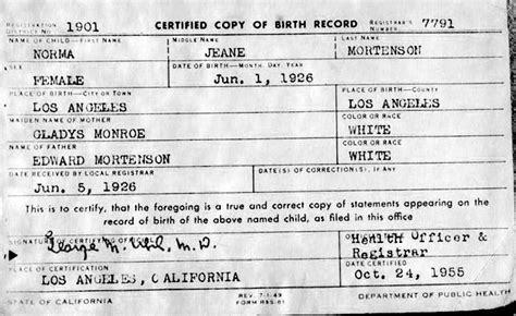 York Hospital Birth Records Chatter Busy Marilyn Birth Certificate