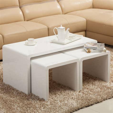 bedroom coffee table high gloss white coffee table side end table set of 2