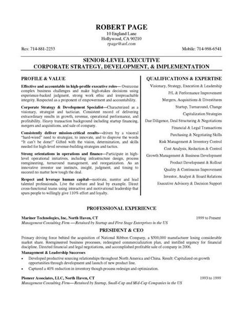 Ceo Resume by Ceo Resume Exle Resume Exles And Executive Resume