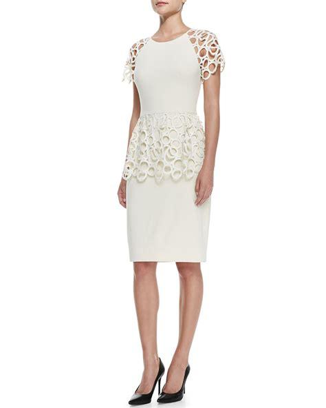 Lela rose Circle lace Peplum Dress in White   Lyst