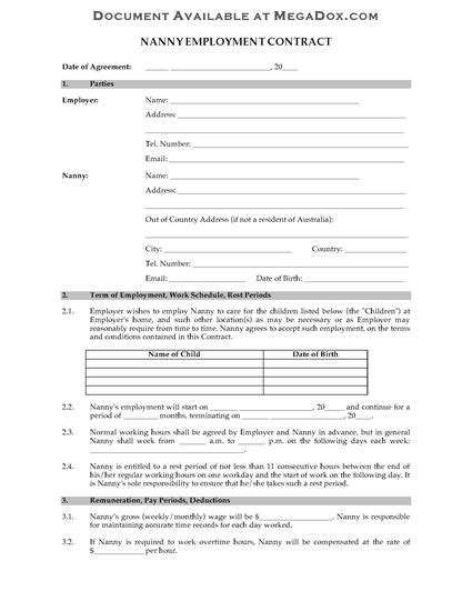 australia nanny employment contract forms and