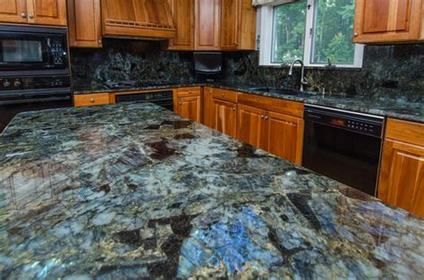 Blue Kitchen White Cabinets by Stone Profile Lemurian Blue