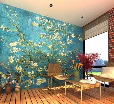 awesome floral background print for bedroom ideas with gogh almond blossom wall mural wallpaper