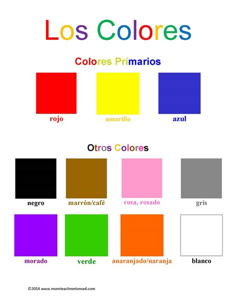 color in spanish spanish for kids los colores free printable