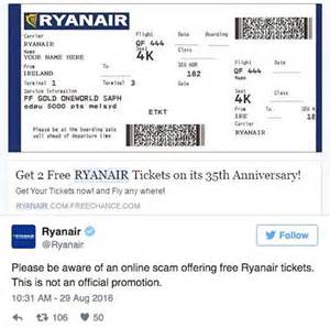 ryanair free tickets scam budget airline warns