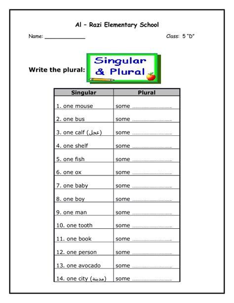 Singular And Plural Nouns Worksheets by Plural Nouns Worksheet