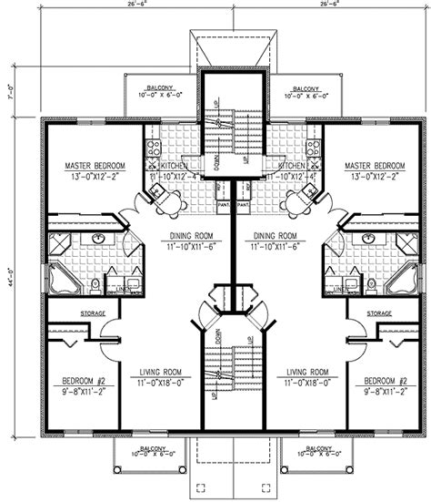 Four Family House Plans by Six Plex Multi Family House Plan 90153pd 1st Floor