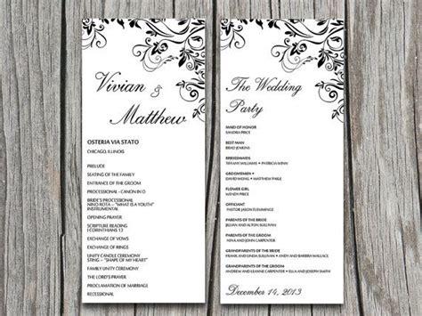 classical program template classical elegance black ornate flourish wedding program