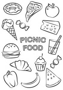 food coloring in picnic food coloring page free printable coloring pages