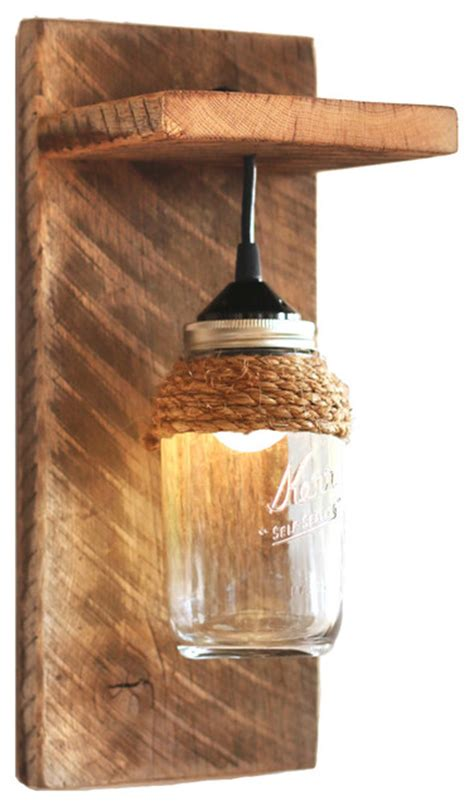 Wood Wall Sconce Light Barn Wood Jar Light Fixture Wall Sconce With Rope