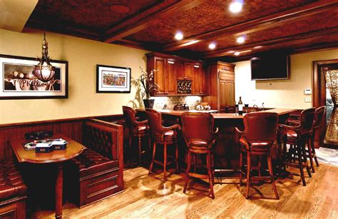 basement bar lighting rustic basement bar ideas with wooden barstools and cool