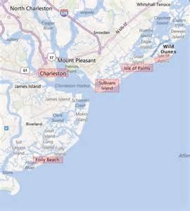 map of carolina and south carolina beaches folly sc hotels motels