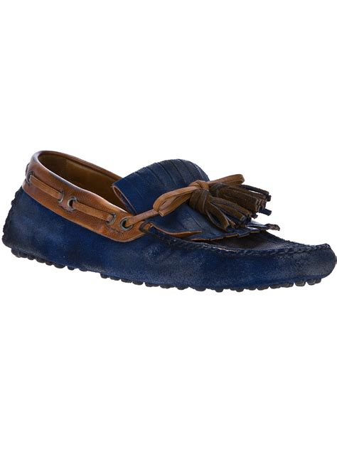 car shoe loafers car shoe tassel loafer in blue for lyst