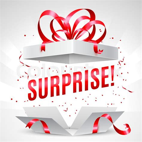 surprise gifts opened surprise gift box with red bow and confetti stock
