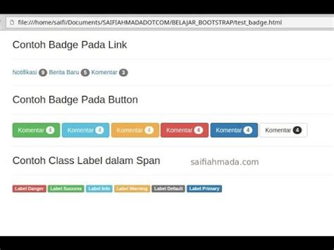 bootstrap tutorial label saifiahmada badge label bootstrap youtube
