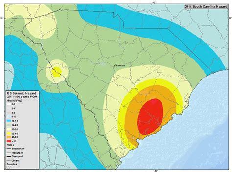 earthquake zone map information by region south carolina