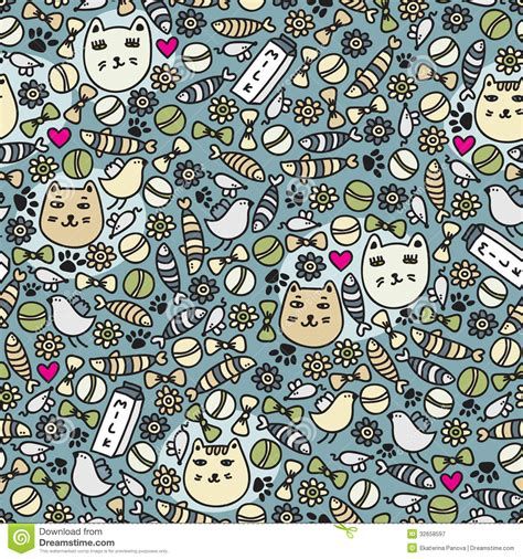 free vector doodle cat cats seamless pattern royalty free stock photography
