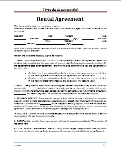 Renting Agreement Template ms word rental agreement template word document templates