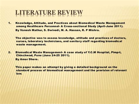 What Is Review Related Literature About Waste Management Practices by Handling Management Of Hazardous And Biomedical Waste