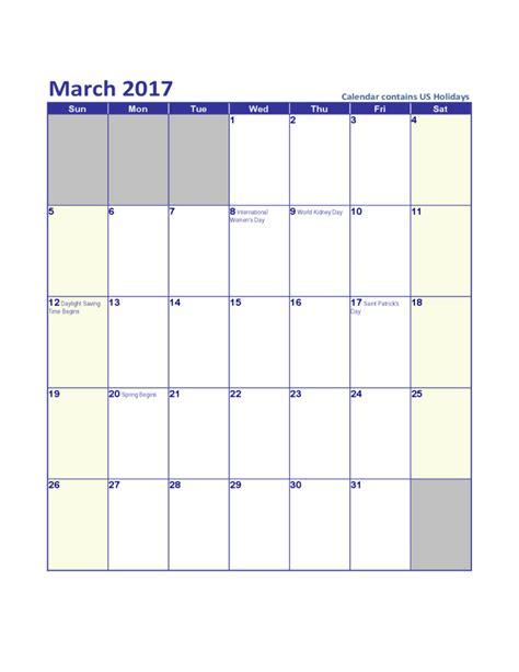 Calendar March 2017 March 2017 Us Calendar With Holidays Free