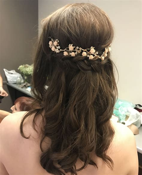 Bridal Hair Half Updo by Bridal Updo Half Up Half Gold Hair Curled