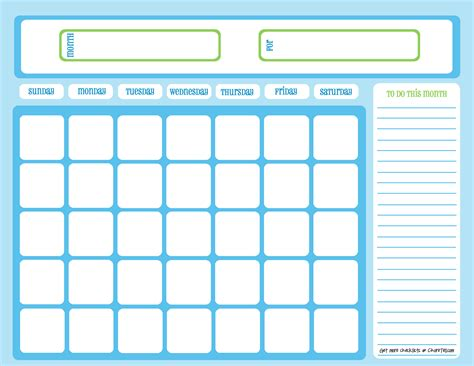 Blank One Month Calendar blank chore calendar one month page blue on light