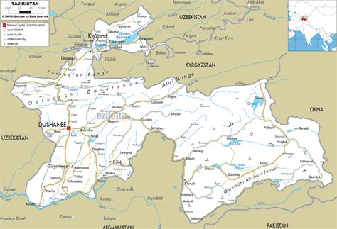tajikistan map road map of tajikistan ezilon maps