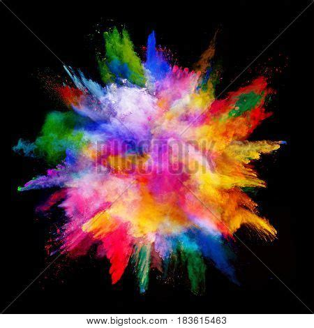 colorful powder wallpaper explosion of colored powder isolated on black background