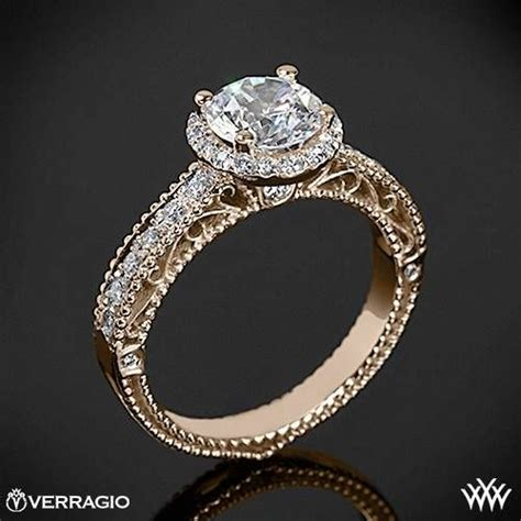 20k gold verragio beaded pave engagement ring