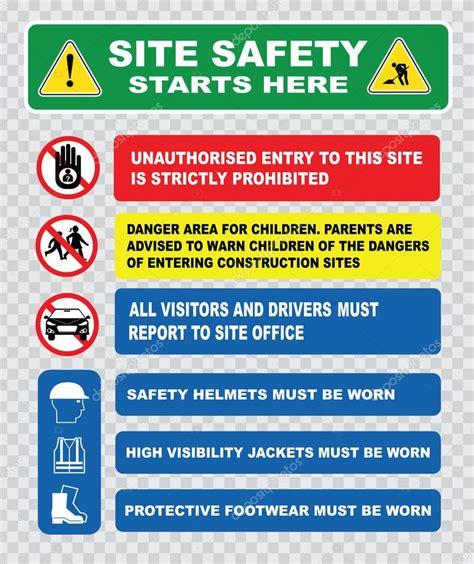 industrial construction site safety signs stock vector