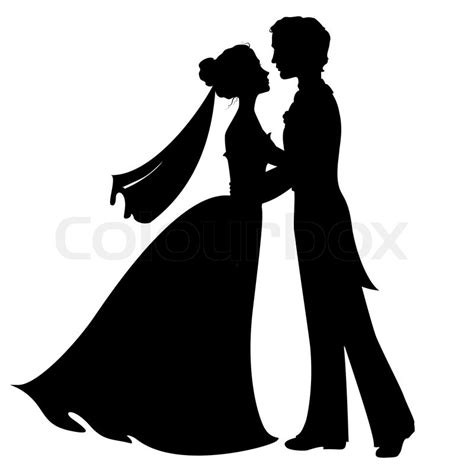 Silhouettes of bride and groom   Stock Vector   Colourbox