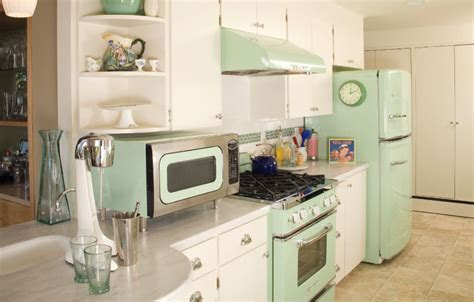 Retro Pastel Mint Green Kitchen Pictures, Photos, and